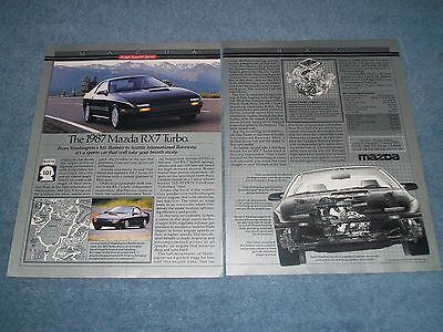 "1987 Mazda RX-7 Turbo Vintage 2pg Ad ""Sports Car That Will Take Your Breath Away"