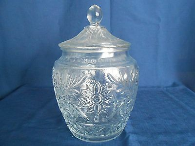 Anchor Hocking Clear Sandwich Pattern Glass Canister Cookie Jar - VGC