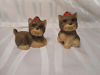 HOMCO 1475 Yorkie Yorkshire Terriers Dogs with Bows Figurines
