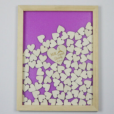 Personalized 120pc Wood Heart Engraved Wooden Wedding Guest Book Drop Top Frame