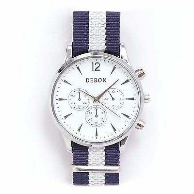 Debon Men's Watch Silver Edition (White and Blue Band)