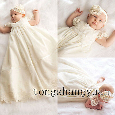 Baptismal Dresses Exquisite Lace Ivory White Blessing Christening Gown +Headband