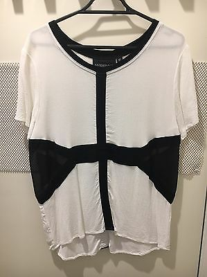 Women's Black And White Mink pink Top, Size XS