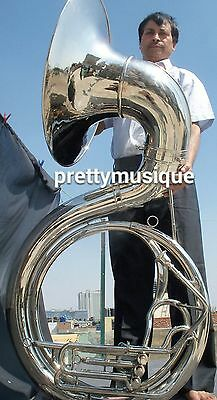 Sousaphone-Big-25-034-Bell-Of-Pure-Brass-In-Chrome-Mouthpc-Case-Box-Accessory