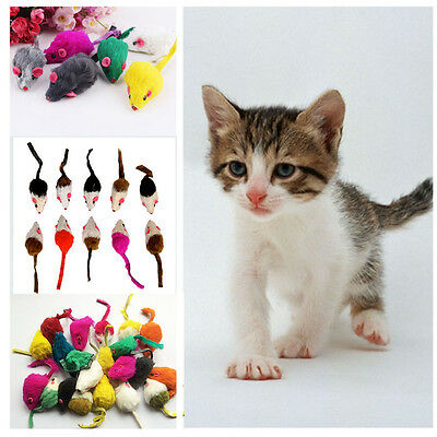 10Pcs/lot Soft Rabbit Fur False Mouse Toys For Cats Random Colors