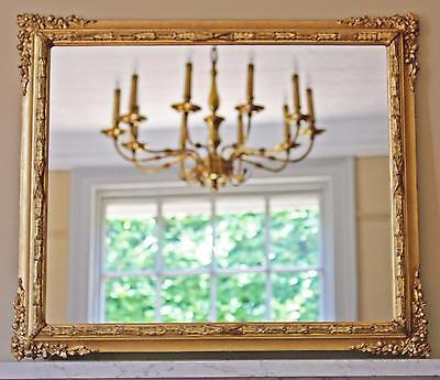 Antique Victorian gilt framed wall mirror overmantle