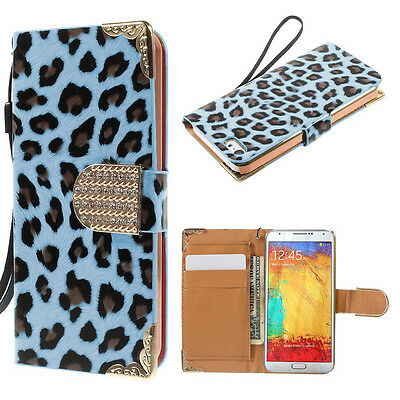 Blue Leopard Leather Wallet Case Stand Cover For Samsung Galaxy Note 4 {xe1