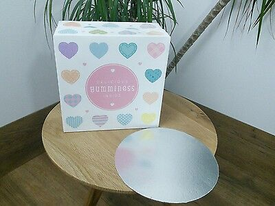 5 Pack heart design cake box cake board set delicious yumminess inside