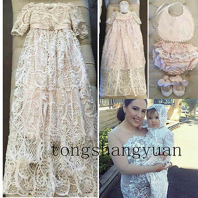 Warm Long Sleeve Baby Robe Baptism Dresses Pink Lace Infant Christening Gown New