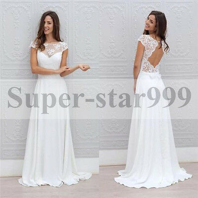 Long Lace Vintage Sleeveless Ball Gown Bridal Chiffon Wedding Dresses Size 6-24+