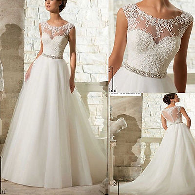 Stock-White-ivory-Tulle-lace-Wedding-dress-Bridal-Gown-size-6-8-10-12-14-16-18