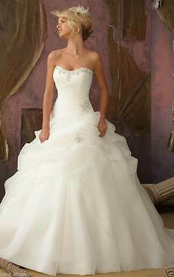 New White/ivory Organza Wedding dress Bridal Gown Stock size 6-8-10-12-14-16-18
