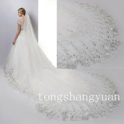 Rhinestones Wedding Veils Cathedral Lace Applique Sequin Bridal Veil White Ivory