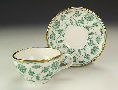 Spode Porcelain - Green Flowers Decorated Miniature Cabinet Cup & Saucer - Nice!