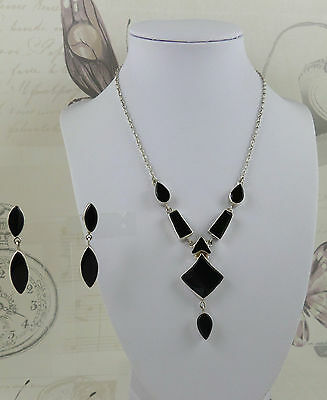 925 Silver and Black Onyx Necklace and Earring Set