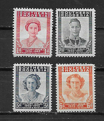 Southern Rhodesia , 1947 , Victory Ww Ii , Set Of 4 Stamps ,  Perf , Vlh