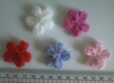Hand Knit Flowers For Cards Hair Clips Hair Bands Shoes Home