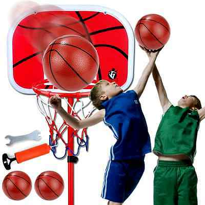 Adjustable Basketball Hoop System Stand Kid In/Outdoor Net Goal with Basketball