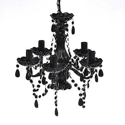#sNew BLACK Christal Light 5 Bulb Ceiling Lights Chandeliers Artificial Glass