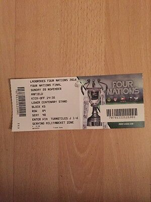 Australia V New Zealand Four Nations Final At Anfield 2016. Rugby Ticket Stub.