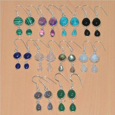 925 Solid Sterling Silver Wholesale 10Pair Labradorite & Mix Stone Earring Lot