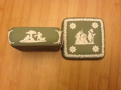 Wedgwood green and white square shaped trinket box