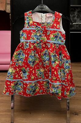 girls 3-4 years red floral dress