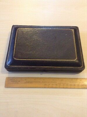 "Antique Leather Cutlery Box Holds 14 Items 8"" Long"