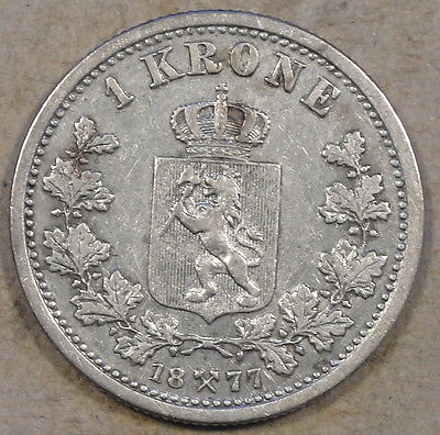 Norway 1877 Krone Better Grade Circulated Coin