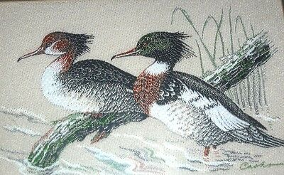 VINTAGE CASH'S SILK WOVEN PICTURE RED BREASTED MERGANSERS ORIGINAL HANGER  f/g