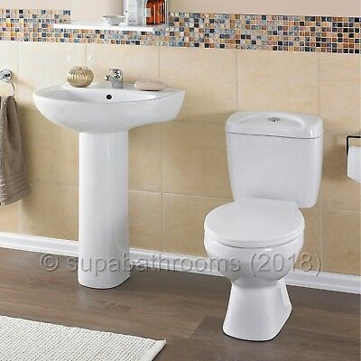 Melbourne 4 Piece Bathroom Modern Suite Toilet WC Basin, Pedestal, Seat