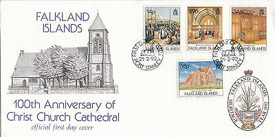 FALKLAND ISLANDS :1992 Christ Church Cathedral  illustrated FDC-SG 652-5