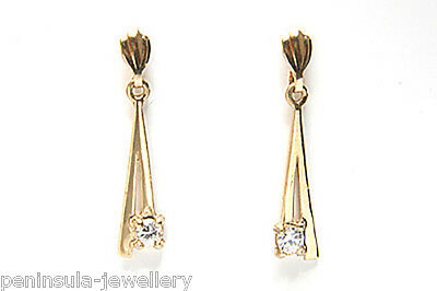9ct Gold CZ drop earrings Made in UK Gift Boxed