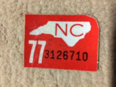 Unused 1977 North Carolina license plate registration sticker - free shipping !