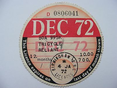 Tax disc for Reliant 3 wheeler, in very good condition.  Clear date stamp.