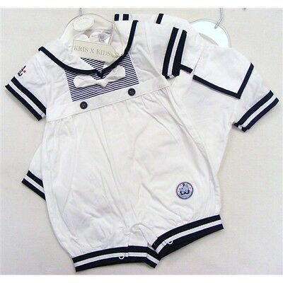 Baby Navy & White Cotton Short Romany Traditional Sailor Romper by Kris X Kids