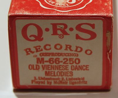 "QRS ""Recordo"" Pianola Roll Old Viennese Dance Melodies M-66-250"