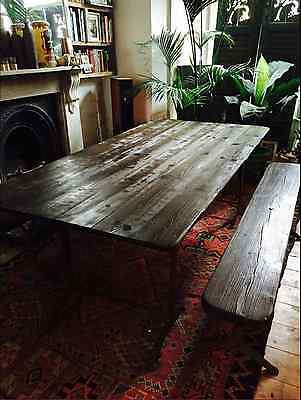 Vintage/industrial/antique Wooden Dining Table And Benches