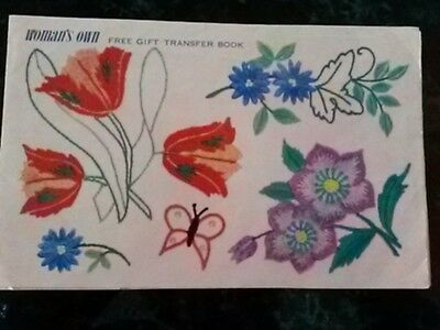 Vintage Woman's Own Flower Embroidery Free Gift Transfer Book / Leaflets