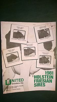 United Breeders Inc. Canada 1981 Holstein Dairy Cattle Sire Directory
