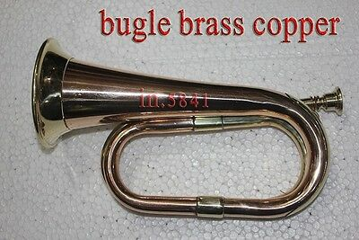 "Bugle Brass with Nickel Trumpet Bugle""Instrument_W/CASE bugles instruments"