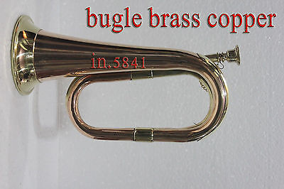 "Bugle Brass with Nickel Trumpet Bugle""Instrument_W/CASE_bugles instruments"