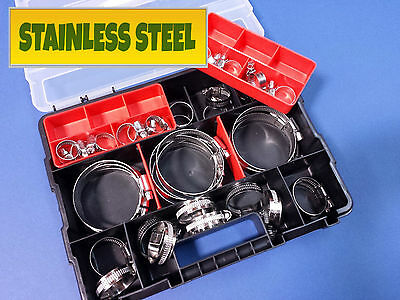 NEW 40pc STAINLESS STEEL HOSE CLAMP KIT IN CARRY CASE FASTENER RADIATOR HOSE