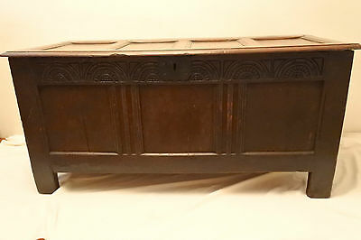 Late 17th / Early 18th Century Large Oak Coffer with Carved Frieze