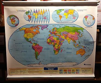 Nystrom Readiness World & United States Pull Down Map 2 Layer Markable 1NS991