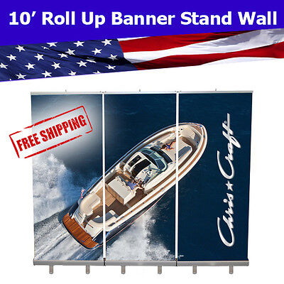 Retractable Roll Up Banner Stand Wall 10' Trade Show Display FREE SHIPPING