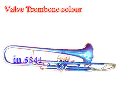 Brass-Valve-Trombone-Blue-Colored-Bb-Professional-With-Mp-Hard-Case Trumbone
