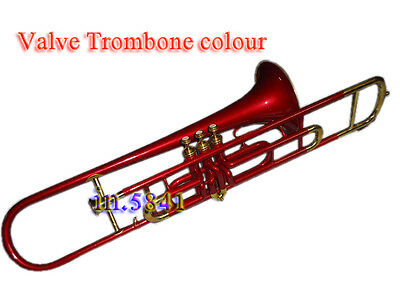Brass-Trombone-Valve-Red Colored-Bb-Professional-With-Mp-Hard-Case-Trumbones Nic