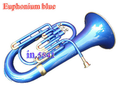 Euphonium Bb Blue Colored Bb_Pitch W-Case&mp Brass Made Tuba Great Sound Indians