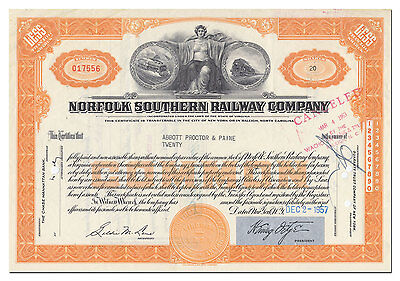 Norfolk Southern Railway Company Stock Certificate